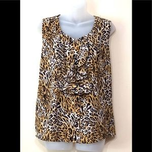 Milano top/blouse animal print w/ruffles upfront